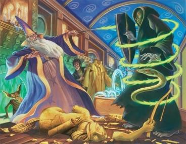 "A batalha entre Dumbledore e Voldemort no Miniestério da Magia em ""A Ordem da Fênix"""
