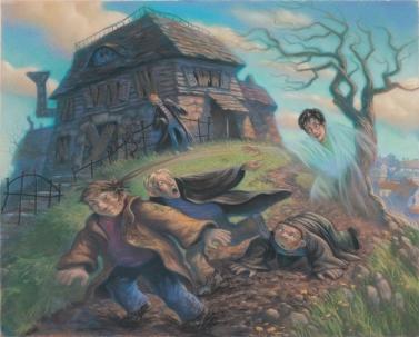 """Harry assustando Draco, Crabbe e Goyle, ao fugir para Hogsmeade usando a capa de invisibilidade em """"O Prisioneiro de Azkaban"""""""
